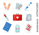 first aid kit supply emergency... | Shutterstock .eps vector #1070421005