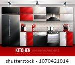 kitchen interior modern design... | Shutterstock .eps vector #1070421014