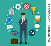 business concept. businessman... | Shutterstock .eps vector #1070423381