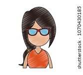 young faceless woman profile... | Shutterstock .eps vector #1070430185