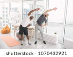sports exercise. positive... | Shutterstock . vector #1070432921