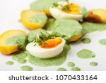 green sauce with eggs and... | Shutterstock . vector #1070433164