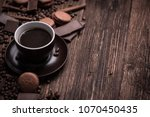 coffee cup  beans  chocolate... | Shutterstock . vector #1070450435