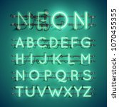 realistic neon font with wires... | Shutterstock .eps vector #1070455355