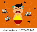dengue fever. boy crying... | Shutterstock .eps vector #1070462447