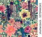 seamless watercolor exotic... | Shutterstock . vector #1070466161
