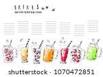 hand drawn summer fruit... | Shutterstock .eps vector #1070472851