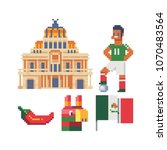 travel to mexico icons part 3 ... | Shutterstock .eps vector #1070483564