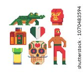 mexico traditional elements... | Shutterstock .eps vector #1070483594