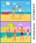 summer collection of activities ... | Shutterstock .eps vector #1070485337