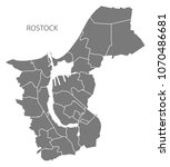 rostock city map with boroughs... | Shutterstock .eps vector #1070486681