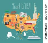 map of usa vector illustration  ... | Shutterstock .eps vector #1070491424