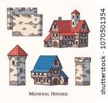 medieval ancient buildings set... | Shutterstock .eps vector #1070501354