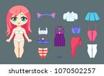 little cute chibi girl and set... | Shutterstock .eps vector #1070502257