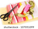 sewing accessories and fabric...   Shutterstock . vector #107051099