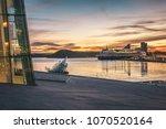 evening over oslofjord and oslo ... | Shutterstock . vector #1070520164