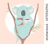 cute blue koala hand drawn... | Shutterstock .eps vector #1070532941