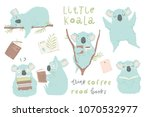 cute hand drawn blue koala... | Shutterstock .eps vector #1070532977