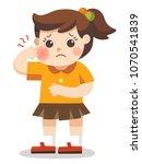 a little girl suffering from... | Shutterstock .eps vector #1070541839
