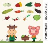 set of isolated vegetables ... | Shutterstock .eps vector #1070559419