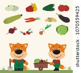 set of isolated vegetables ... | Shutterstock .eps vector #1070559425
