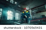 portrait factory senior welder... | Shutterstock . vector #1070565431