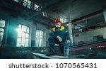 portrait factory senior welder... | Shutterstock . vector #1070565431
