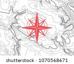 topographic map with wind rose  ... | Shutterstock .eps vector #1070568671