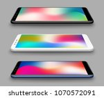 realistic smartphones mockups... | Shutterstock .eps vector #1070572091