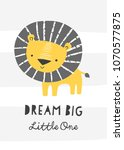 nursery poster with cute lion....   Shutterstock .eps vector #1070577875