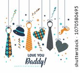 happy father s day  holiday... | Shutterstock .eps vector #1070580695