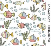 doodle seamless pattern with... | Shutterstock .eps vector #1070599109