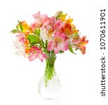 bouquet of  colorful... | Shutterstock . vector #1070611901