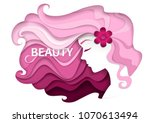 beautiful girl with long wavy... | Shutterstock .eps vector #1070613494