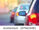 peak hour. automobile brake... | Shutterstock . vector #1070614481