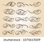 calligraphic elegant elements... | Shutterstock .eps vector #1070615009