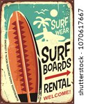 surfboards rentals retro tin... | Shutterstock .eps vector #1070617667