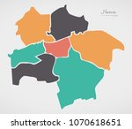 hamm map with boroughs and... | Shutterstock .eps vector #1070618651