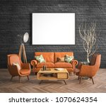 mock up poster frame in hipster ... | Shutterstock . vector #1070624354