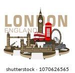 big ben double decker bus ...   Shutterstock .eps vector #1070626565