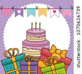 happy birthday card with sweet... | Shutterstock .eps vector #1070626739