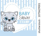 baby boy shower card. cute cat... | Shutterstock .eps vector #1070629001