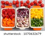 colorful vegetables diced in...   Shutterstock . vector #1070632679