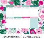 beautiful weekly planner... | Shutterstock .eps vector #1070633411