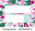 beautiful weekly planner...   Shutterstock .eps vector #1070633411