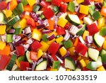 colorful diced vegetables as a...   Shutterstock . vector #1070633519