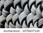 Old Used Tires That Are Lined...