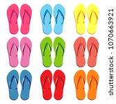 summer colorful flip flops set. ... | Shutterstock .eps vector #1070663921