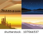 set of four beautiful landscapes | Shutterstock .eps vector #107066537