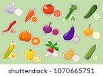 vegetables vector stickers ...   Shutterstock .eps vector #1070665751